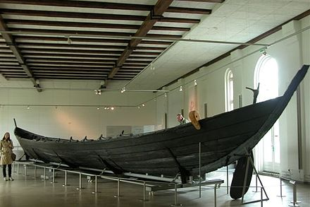 The Nydam oak boat on display at Gottorf Castle, Schleswig, Germany. Nydamboat.2.jpg