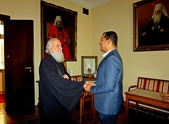 Orthodoxy Cognate PAGE Society - His Holiness Irinej – (Archbishop of Peć, Metropolitan of Belgrade and Karlovci, and Serbian Patriarch) received George Alexander, Secretary of Orthodoxy Cognate PAGE (Pan-Orthodox Christian Society) on 13 April 2018 at the Patriarchal residence in Belgrade.