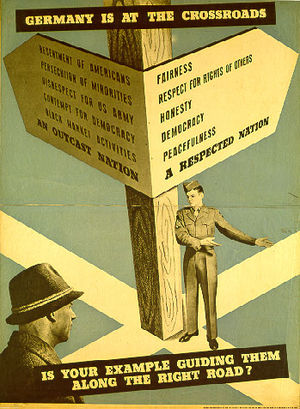 "Office of Military Government, United States - Propaganda poster ""Reeducation"" (German: Umerziehung), 1947."