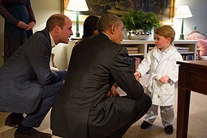 Timeline of the presidency of Barack Obama (2016) - President Obama greets Prince George of Cambridge, third in line to the British throne, at Kensington Palace during his visit to London, April 22, 2016