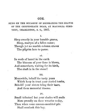 Ode: Sung on the Occasion of Decorating the Graves of the Confederate Dead at Magnolia Cemetery, Charleston, S.C., 1867 - First page of the poem, as collected in 1873