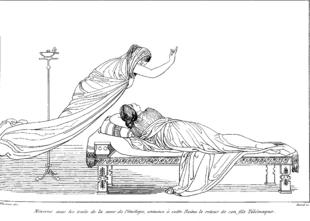 Illustrazione dell'Odissea: Atena, nelle sembianze della sorella Iftime annuncia il ritorno di Telemaco a Penelope