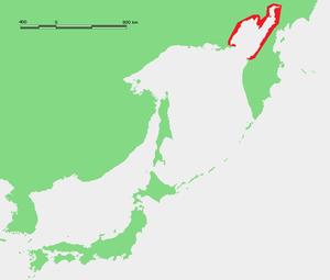 Shelikhov Gulf - Location of the Shelikhov Gulf in the Sea of Okhotsk.