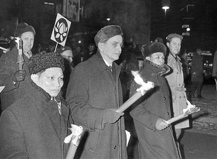 Olof Palme marching against the Vietnam War with the North Vietnam ambassador in Stockholm, 1968 Olof Palme marching against the Vietnam War 1968.jpg