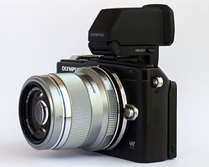 Electronic viewfinder - An Olympus PEN E-PL5 mounted with an external EVF unit: the Olympus VF-4