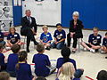 On Friday, May 14th, HHS Secretary Kathleen Sebelius visited Templeton Elementary School in Bloomington, IN. Here she and Congressman Baron Hill talk with students about the importance of physical activity.jpg