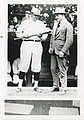 """One black and white, glossy photograph. Image of George Herman (""""Babe"""") Ruth and unidentified man. Image is attached to photo (eed930ad-d20d-458a-a4d1-3ea671301dce).jpg"""