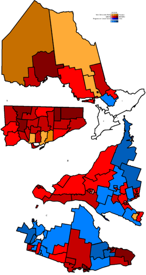 Dalton McGuinty - McGuinty's Liberal's 2003 sweep of the province. Liberal seats won appear in shades of red.