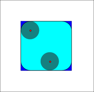 Mathematical morphology - The opening of the dark-blue square by a disk, resulting in the light-blue square with round corners.