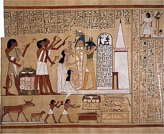 Opening of the mouth ceremony - Priests of Anubis, the guide of the dead and the god of tombs and embalming, perform the opening of the mouth ritual