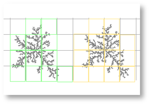Box counting - Figure 4. It takes 12 green but 14 yellow boxes to completely cover the black pixels in these identical images. The difference is attributable to the position of the grid, illustrating the importance of grid placement in box counting.