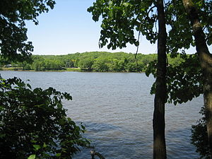 Lowden State Park - The Rock River from its banks at Lowden State Park