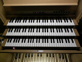 Manual (music) - This electronic organ has two offset, four-octave manuals, a typical configuration for a great many popular home and professional instruments. Various other controls, including an LCD screen, are visible surrounding the manuals; two expression pedals and part of the pedalboard itself are visible below.