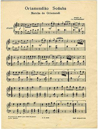 Marcha de Oriamendi - Partiture of the anthem.