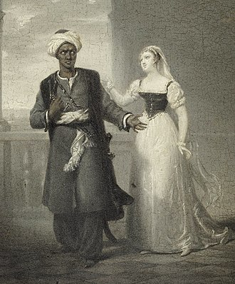Interracial marriage - Othello, the Moor and Desdemona, his Venetian wife, from William Shakespeare's Othello (Fradelle, c.1827, detail)