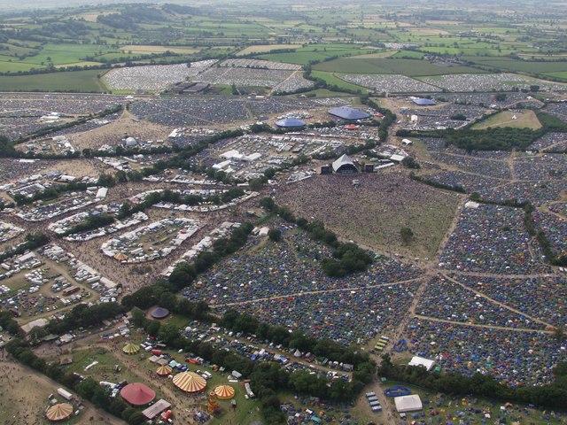 Overhead Glastonbury Festival site (2002) - geograph.org.uk - 210700