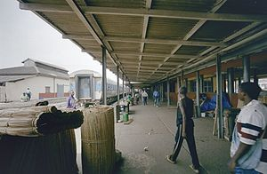 Railway stations in Ghana - Accra station platforms and canopy.