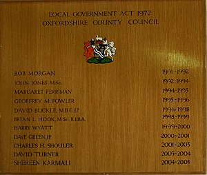 Oxfordshire County Council - Oxfordshire County Council Chairs, 1991 to 2005