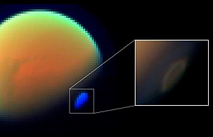 Atmosphere of Titan - Titan's South Pole Vortex—a swirling HCN gas cloud (November 29, 2012).