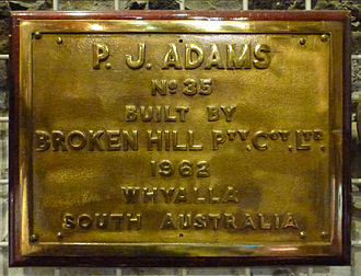 Whyalla Steelworks - Plate from the vessel P.J.Adams on display at the SA Maritime Museum