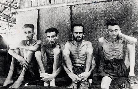 Australian and Dutch prisoners of war at Tarsau in Thailand, 1943 POWs Burma Thai RR.jpg