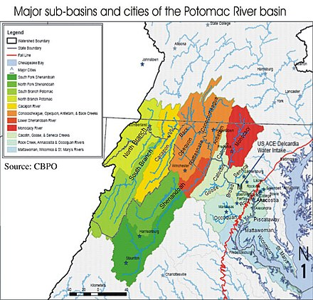 Major sub-basins and cities of the Potomac River basin PR sub-basins with tributary names.jpg