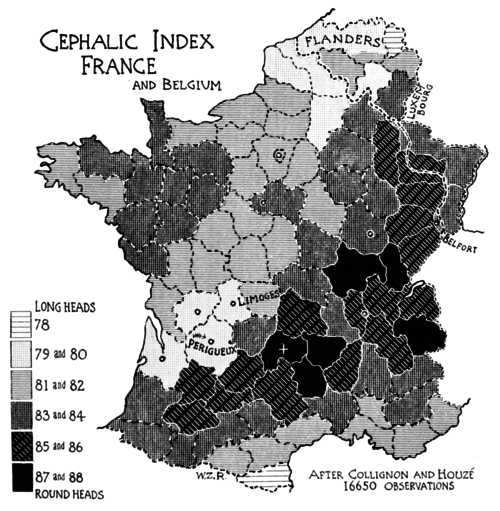 PSM V51 D454 Cephalic index of france and belgium.png