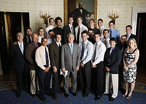 Penn State Nittany Lions men's volleyball - The Nittany Lions team, coaches, and staff are honored at the White House by President of the United States George W. Bush in June 2008 for winning the 2008 national championship.