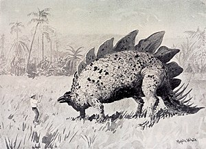 The Lost World (Conan Doyle novel) - Encounter with Stegosaurus
