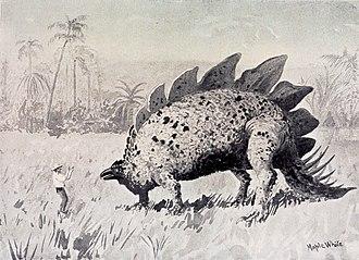 The Lost World (Conan Doyle novel) - Encounter with Stegosaurus