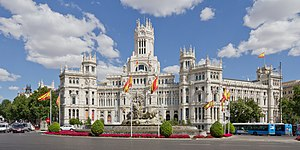 Plaza de Cibeles - The plaza is a landmark of Madrid and it is famous for the Cybele Palace (City Hall), and the fountain of the same name.