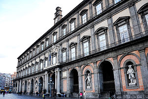 Royal Palace of Naples - The façade on Piazza del Plebiscito, seen from the south
