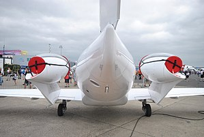 Honda HA-420 HondaJet - Rear view of the aircraft, highlighting the podded engine configuration