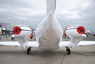 Honda HA-420 HondaJet - Rear view of the aircraft, highlighting the overwing podded engine configuration