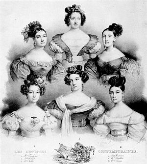 Salle Le Peletier - The Principal Ballerinas of the Paris Opera in 1831 (clockwise from top left): Lise Noblet, Marie Taglioni, Constance Julia, Alexis Dupont, Amélie Legallois, and Pauline Montessu.
