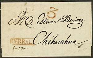 Postage stamps and postal history of Mexico - Stampless letter, rated 3 reales, mailed 1852 from Parral, State of Chihuahua to the City of Chihuahua
