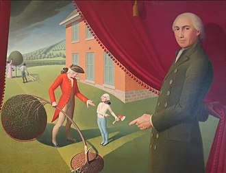 "Mason Locke Weems - 'Parson Weems' Fable', a 1939 painting by Grant Wood, depicting both Weems and his ""Cherry Tree"" story."