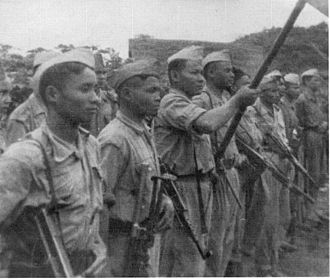 Laotian Civil War - Pathet Lao soldiers in Xam Neua, 1953