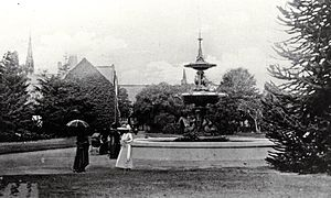 Peacock Fountain - The Peacock Fountain in its first location.