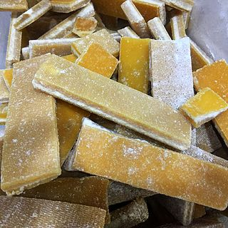 Chinese brown sugar in slab or brick form, used to flavor desserts or eaten as a snack