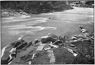 Ilchester, Maryland - Pegmatite dikes along the river at Ilchester (c. 1895)