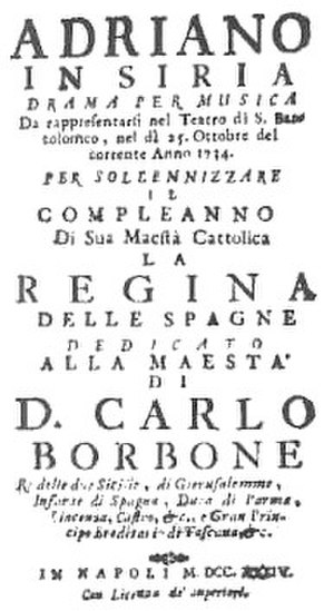Adriano in Siria (Pergolesi) - Title page of the libretto