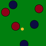 Al final de esta partida, el equipo rojo tiene una bola más cerca del boliche que cualquier bola del equipo azul. El equipo rojo gana un punto.
