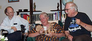 Peter Ladefoged - Peter Ladefoged (center) with the phonetician Dr. Norris McKinney and the text linguist Dr. Robert Longacre, 2004, Duncanville, TX