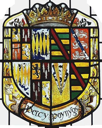 Henry Percy, 3rd Earl of Northumberland - Arms of Henry Percy, 3rd Earl of Northumberland impaling Poynings, his wife's family. Detail from the 16th century stained glass Percy Window at Petworth House, Sussex