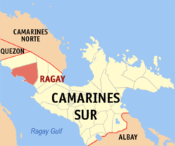 Map of Camarines Sur showing the location of Ragay