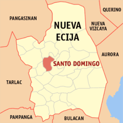 Map of Nueva Ecija showing the location of Santo Domingo