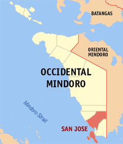 Mapa ti Occidental Mindoro a mangipakita ti lokasion ti San Jose, Occidental Mindoro.