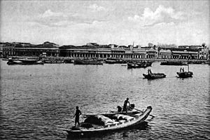 Singapore River - Collyer Quay as viewed from what is now Marina Bay, circa 1900s