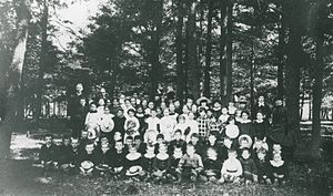 Mooney's Bay Park - A photograph of a group of Mooney and Carty children at a picnic at the Narrows Lockstation circa 1900